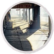 In The Shadows Of Mexicali Round Beach Towel