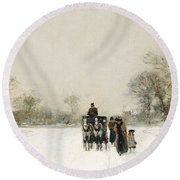 In The Snow Round Beach Towel