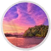 Indian Ocean Sunset Round Beach Towel