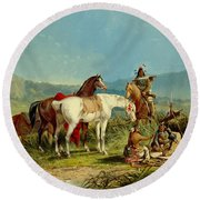 Indians Playing Cards Round Beach Towel by John Mix Stanley