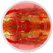 Golden Abstract Painting  Round Beach Towel