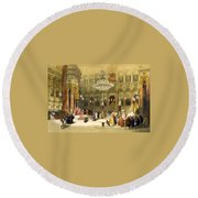 Inside The Church Of The Holy Sepulchre Round Beach Towel