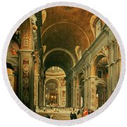 Interior Of St Peters In Rome Round Beach Towel by Giovanni Paolo Panini