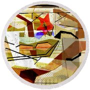 Interstate 10- Exit Out West- Where Life Begins New- Rectangle Remix Round Beach Towel