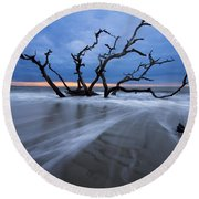 Into The Blue Round Beach Towel by Debra and Dave Vanderlaan