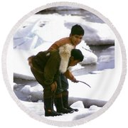 Inuit Boys Ice Fishing Barrow Alaska July 1969 Round Beach Towel