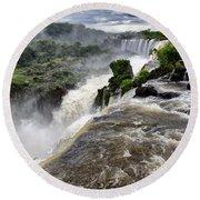 Iquassu Falls - South America Round Beach Towel