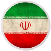 Iran Flag Vintage Distressed Finish Round Beach Towel