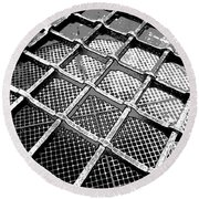 Iron Protection On Mesh Covered Well Inside Edinburgh Castle Round Beach Towel