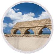 Israel Caesarea Aqueduct  Round Beach Towel