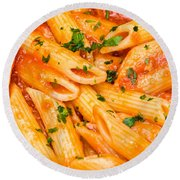 Italian Pasta - Penne All'arrabbiata Round Beach Towel