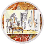 Italy Sketches Venice Hotel Round Beach Towel