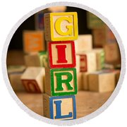 Its A Girl - Alphabet Blocks Round Beach Towel