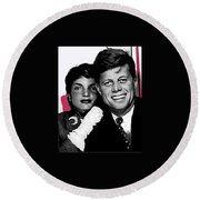Jackie And Jack Kennedy In A Photo Booth Snap No Known Location 1953-2013 Round Beach Towel
