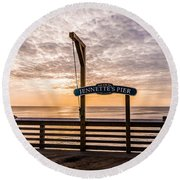 Jeanette's Pier  Round Beach Towel