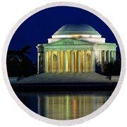 Jefferson Memorial At Night Round Beach Towel
