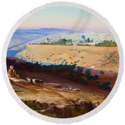 Jerusalem From The Mount Of Olives Round Beach Towel