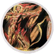 Jerusalem The Emanation Of The Giant Albion Round Beach Towel by William Blake