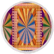 Jewel Panel Colorful Buttons Golden Abstract Signature Art  Navinjoshi Artist Created Images Texture Round Beach Towel