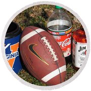 Jim Beam Coke And Football Round Beach Towel