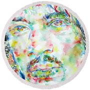 Jimi Hendrix Watercolor Portrait.1 Round Beach Towel