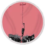 John Heath Lynched Telephone Pole February 22 1884 Collage Tombstone Arizona 1884-2012 Round Beach Towel