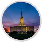 Jordan River Temple Sunset Round Beach Towel
