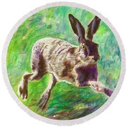 Joyful Hare Round Beach Towel
