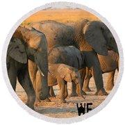 Kalahari Elephants Round Beach Towel