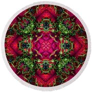 Kaleidoscope Made From An Image Of A Coleus Plant Round Beach Towel