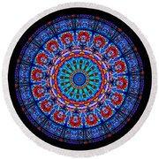 Kaleidoscope Stained Glass Window Series Round Beach Towel