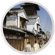 Kawagoe Bell Tower Round Beach Towel