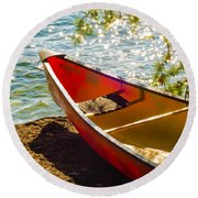 Kayak By The Water Round Beach Towel