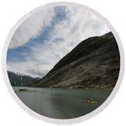 Kayaking To The Nigardsbreen Glacier Round Beach Towel