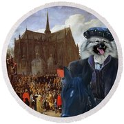 Keeshond Art Canvas Print Round Beach Towel