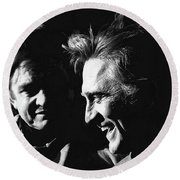 Kirk Douglas Laughing Johnny Cash Old Tucson Arizona 1971 Round Beach Towel