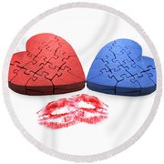 Kisses From The Heart Round Beach Towel