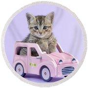 Kitten In Pink Car Round Beach Towel