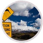 Kiwi Crossing Road Sign And Volcano Ruapehu Nz Round Beach Towel