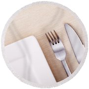Knife Fork And Plate Round Beach Towel
