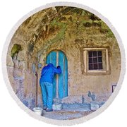 Knocking On A Blue Door Of Tufa Home In Goreme In Cappadocia-turkey  Round Beach Towel