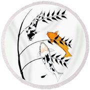 Koi Utsurimono Yellow Golden Ogon Bekko And Bamboo   Round Beach Towel