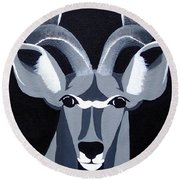 Kudu Black Round Beach Towel