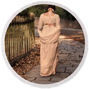 Lady In Regency Dress Walking Round Beach Towel