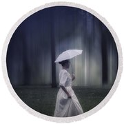 Lady In The Woods Round Beach Towel by Joana Kruse