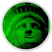 Lady Liberty In Green Round Beach Towel