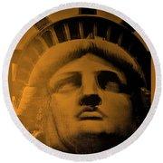 Lady Liberty In Orange Round Beach Towel
