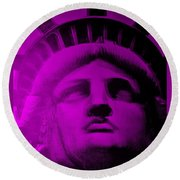 Lady Liberty In Purple Round Beach Towel