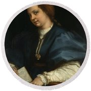 Lady With A Book Of Petrarch's Rhyme Round Beach Towel