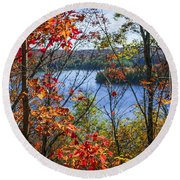 Lake And Fall Forest Round Beach Towel